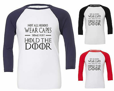Not all heroes wear capes  raglan t shirt game of thrones inspired hodor fantasy