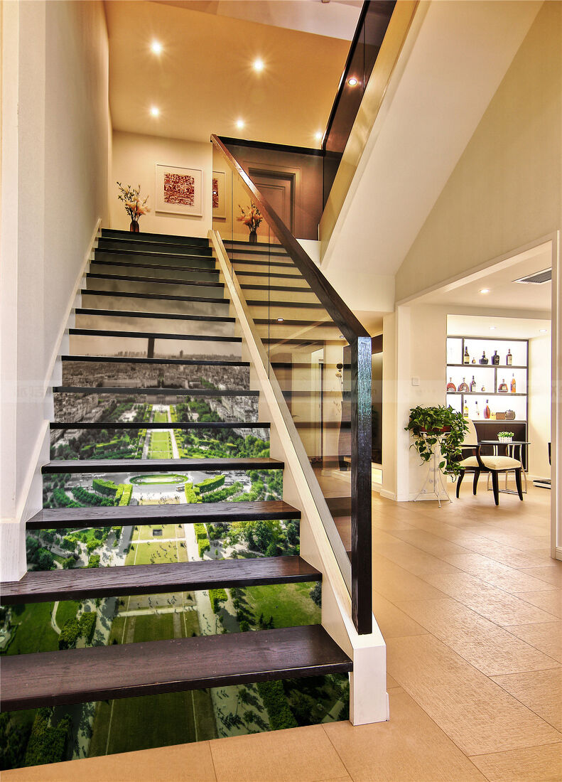 3D city Greening stairs Risers Decoration Photo Mural Vinyl Decal Wallpaper US