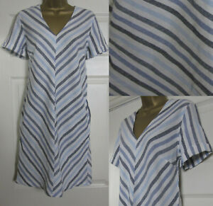 NEW-Next-Shift-Tunic-Dress-Linen-Blend-Summer-Chevron-Striped-Blue-Ivory-8-18