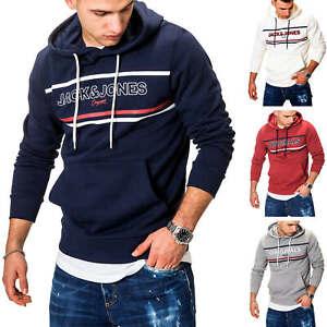 Jack-amp-Jones-Herren-Hoodie-Kapuzenpullover-Sweatshirt-Pullover-Print-Casual