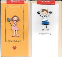 Happy Birthday Wooden Magnets Boy Girl Fraternal Twins Greeting Card Cards