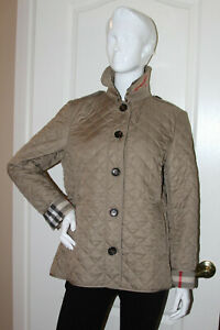 Details About Burberry Brit Women S Ashurst Taupe Diamond Quilted Jacket Sz L