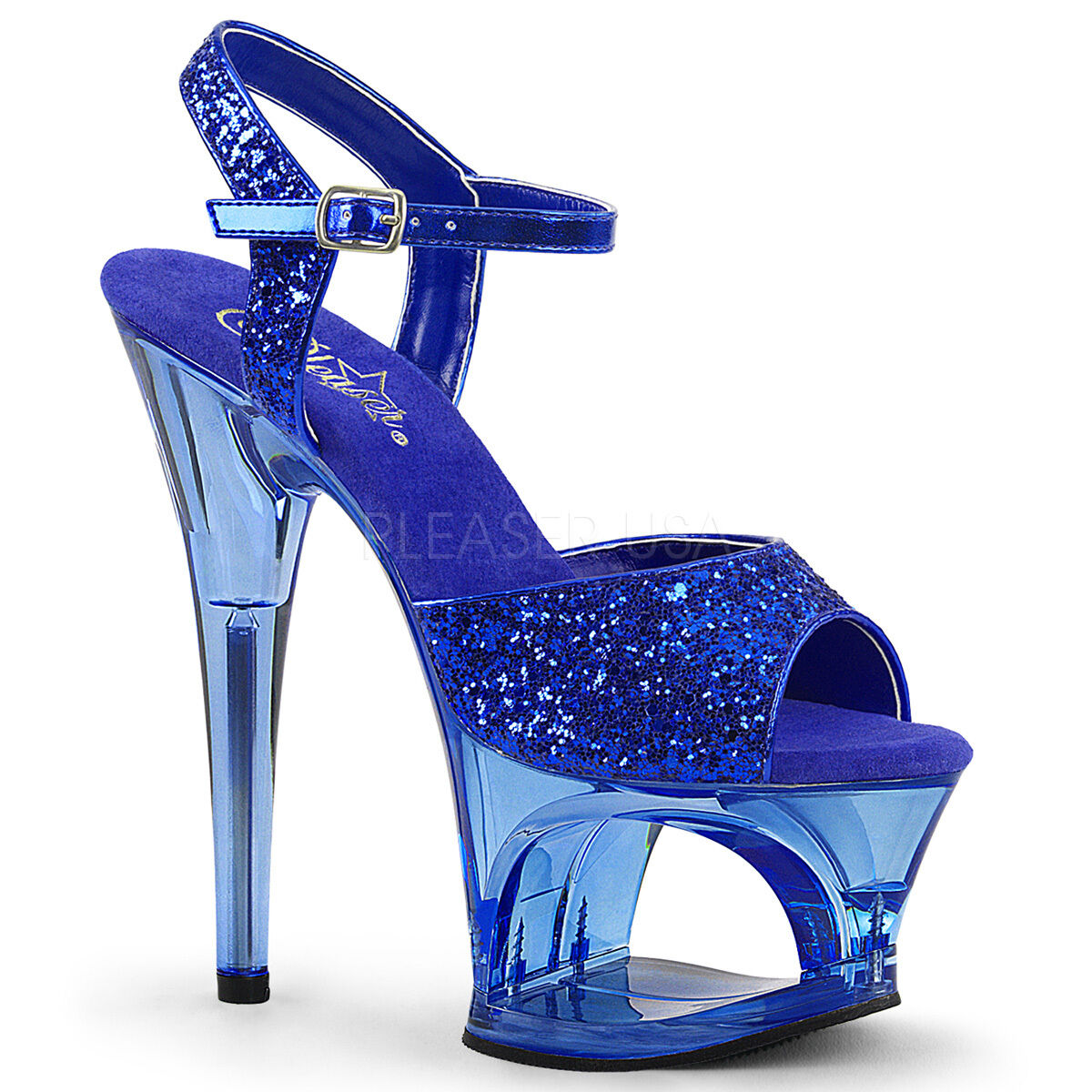 Sexy shoes Cutout Tinted Platform 7  High Stripper Heels bluee Glitter Sandals