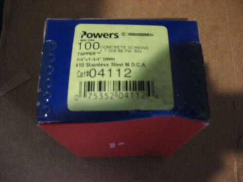AA8191-100 POWERS 0411 1//4x1-3//4 410SS CONCRETE SCREWS