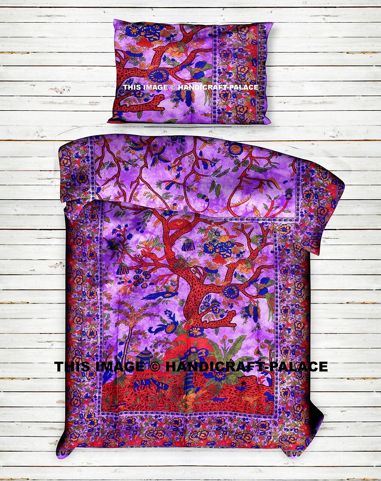 Tree of Life Printed Purple Duvet Cover Boho Comforter Indian Twin Bedding Set