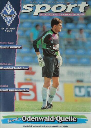 Hannover 96 Programm 1993//94 SV Waldhof Mannheim