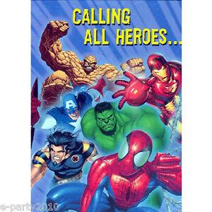 Image Is Loading MARVEL HEROES INVITATIONS 8 Superhero Birthday Party Supplies