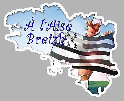 Responsible Sticker Bretagne A L'aise Breizh Breton Drapeau 12x9,5cm Autocollant Auto Ba187 Automobilia