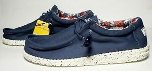 Mens-Hey-Dude-Wally-Stretch-Blue-Canvas-Casual-Shoes-Sz-9-10-11-12-13