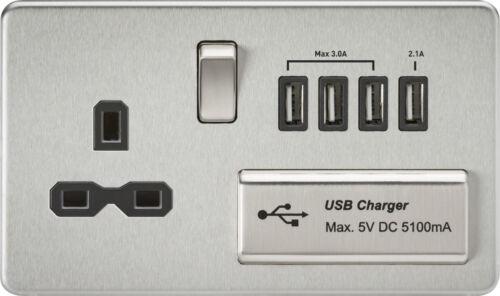 Knightsbridge 230V screwless 13A 1 gang switched socket avec quad chargeur usb