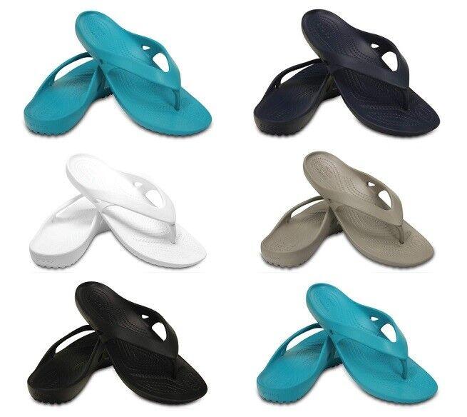 Crocs Womens Kadee Flip Flops Soft Summer Beach Ladies Sandals Soft Flops Pool Thong Black 32a6ef