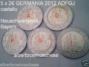 5 x 2 euro 2012 GERMANIA Allemagne Alemania Deutschland Castello Neuschwanstein