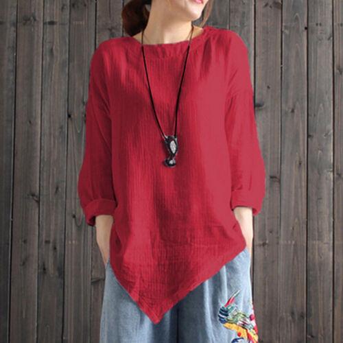 Womens Shirt Asymmetric Crew Neck Long Sleeve Solid Cotton Linen Tops T-Shirt