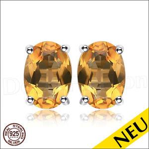 NEU-Ohrringe-CITRIN-925-Sterling-Silber-OVAL-Ohrstecker-Rhodiniert-Luxus