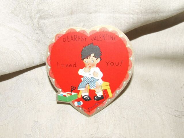 VINTAGE 1920s Sewing Boy DEAREST VALENTINE I Need You! A C Co Product of USA