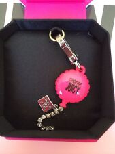 NWT Juicy Couture Silver Hot Pink Air Balloon Rhinestone Bracelet Necklace Charm