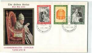 VATICAN-1966-GOLDEN-SERIES-COMMEMORATING-COUNCIL-II-3v-ON-POPE-ILLUSTRATED-FDC