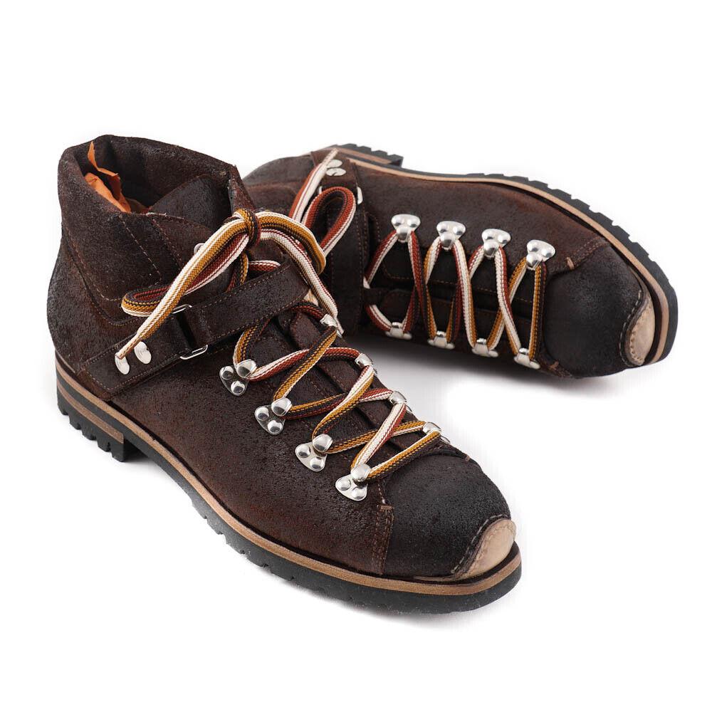 Nuevo En Caja  SANTONI Cuero Marrón Chocolate Encerado botas Senderismo Zapatos EE. UU. 11