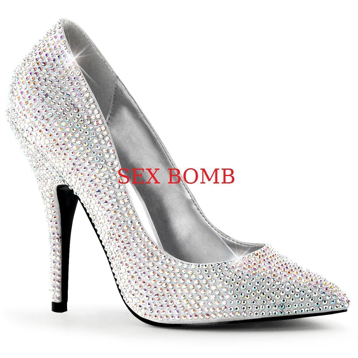 Descuento de liquidación SEXY scarpe decolte raso STRASS tacco 13 cm ARGENTO dal 35 al 41 satin GLAMOUR