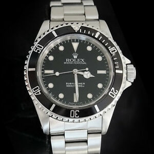 Details about Rolex Submariner Mens Stainless Steel Watch Oyster Band No  Date Sub Black 14060