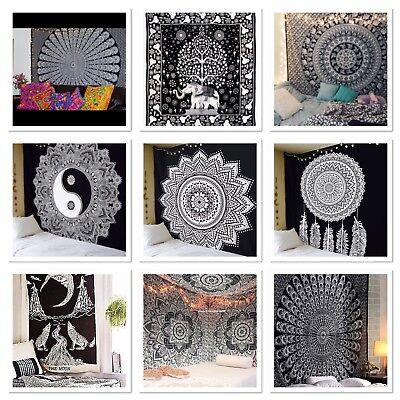 Hippie Nero e Bianco Arazzo Yin-Yang Arazzo da Parete Mandala Stampato Arazzi per Decorazione Casa