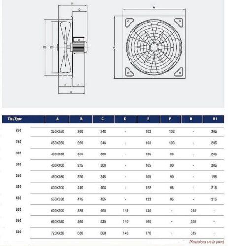 40cm TURBO Axiallüfter Wandlüfter Fensterlüfter lüfter industrielüfter 4550m³//h