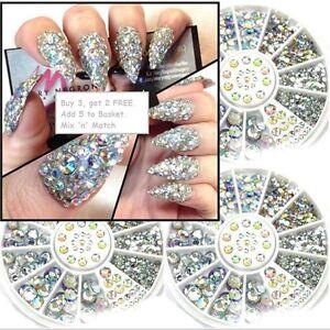 3D-Nail-Art-Decoration-Glitter-Rhinestones-AB-Diamante-Crystals-400-PIECES