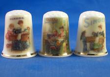 Birchcroft Thimbles -- Set of Three -- Singer Sewing Ladies