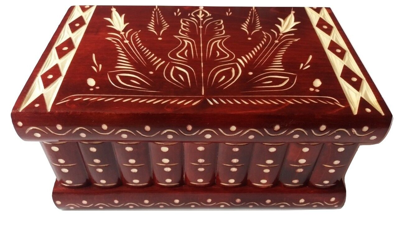 GRAND PUZZLE Bijoux Boîte Magique Rouge Nouveau Grand Coffret en Bois Trésor Brain Teaser