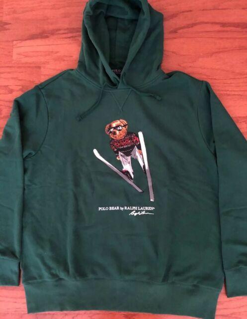 Ralph Lauren Polo Bear Forest Green Fleece Cotton Blend Pull Over Hoodie XL
