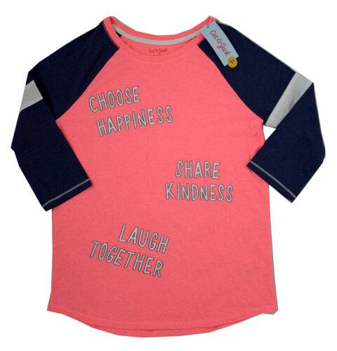 Pink//Blue 14//16 Cat /& Jack Girl/'s Choose Happiness Baseball T-Shirt Size XL
