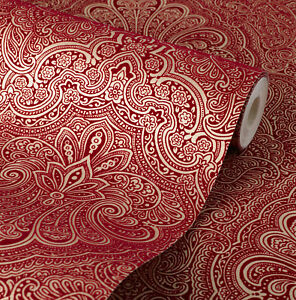 Image Is Loading Exclusive Henna Velvet Flock Red Gold Damask Wallpaper