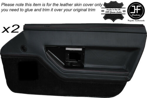 BLACK LEATHER 2X FRONT DOOR CARD TRIM LEATHER SKIN COVER FITS CORVETTE C4 84-90