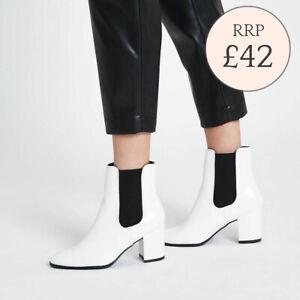 Ex River Island White Block Heel Ankle