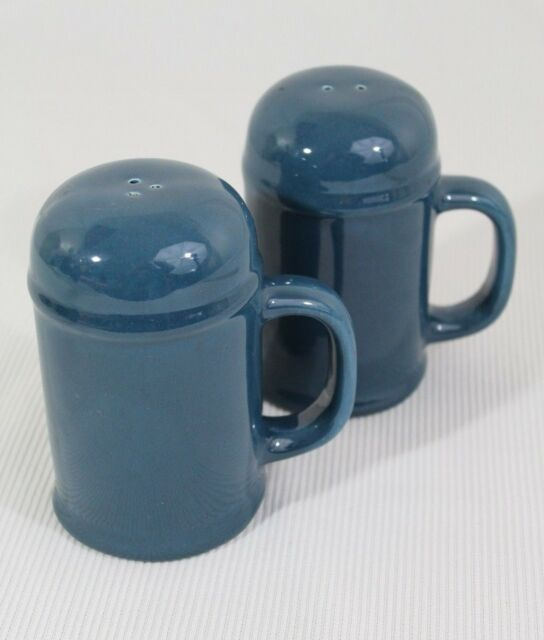 Vintage Blue Ceramic Mug Style Salt And Pepper Shakers With Handles
