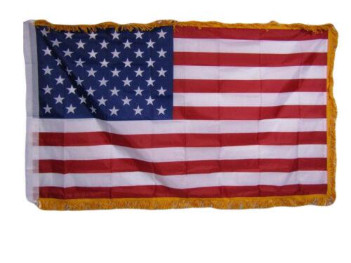 3x5 USA American US 50 Star Poly Nylon Sleeve w// Gold Fringe Flag 3/'x5/' Banner