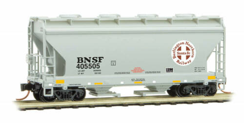 Micro-Trains MTL N-Scale 2-Bay Covered Hopper Car BNSF//Red Circle-Cross #405505