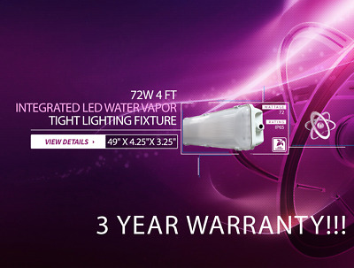 4-PACK 72W 4 FOOT Vapor Water Tight Surface LED Fixture 6500K Shop Light New!