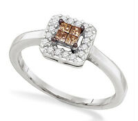 Pretty 10k White Gold Invisible-set Princess Chocolate Brown Diamond Ring .25ct