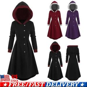 US-Women-Long-Sleeve-Hooded-Hoodie-Jacket-Jumper-Coat-Swing-Long-Dress-Plus-Size