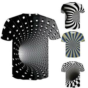 Hombres-mujeres-manga-corta-t-shirt-tops-3d-swirl-Print-ilusion-optica-t-shirt