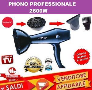 PHON-PROFESSIONALE-ASCIUGACAPELLI-2600-W-Triplo-Diffusore-A-PETTINE-NUOVO-2019