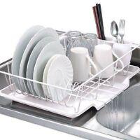 3 Pc Dish Drainer Strainer Set White Tray Rack Dryer Drying Kitchen Storage Sink
