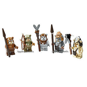 LEGO-Star-Wars-10236-Village-COMPLETE-EWOK-SET-Minifigures-Figures-Teebo-Wicket