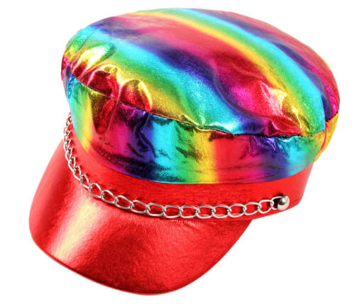 KH-310 Rocker Kappe Cap Regenbogen Mütze Greek Erwachsene Metallic Glitzer