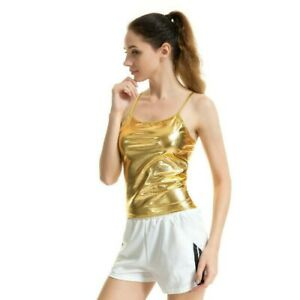 Lady-Strappy-Cami-Camisole-Vest-Tank-Top-Metallic-Shiny-Party-Club-Gold-Sexy-Tee