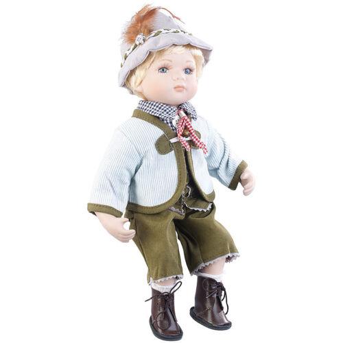 PEARL Sammler-Porzellan-Puppe Anton mit bayerischer Tracht, 36 cm
