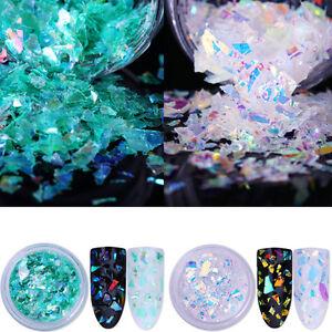 2Boxen-Fluoreszierend-Nagel-Glitzer-Puder-Nail-Sequins-Glitter-Powder-Paillette