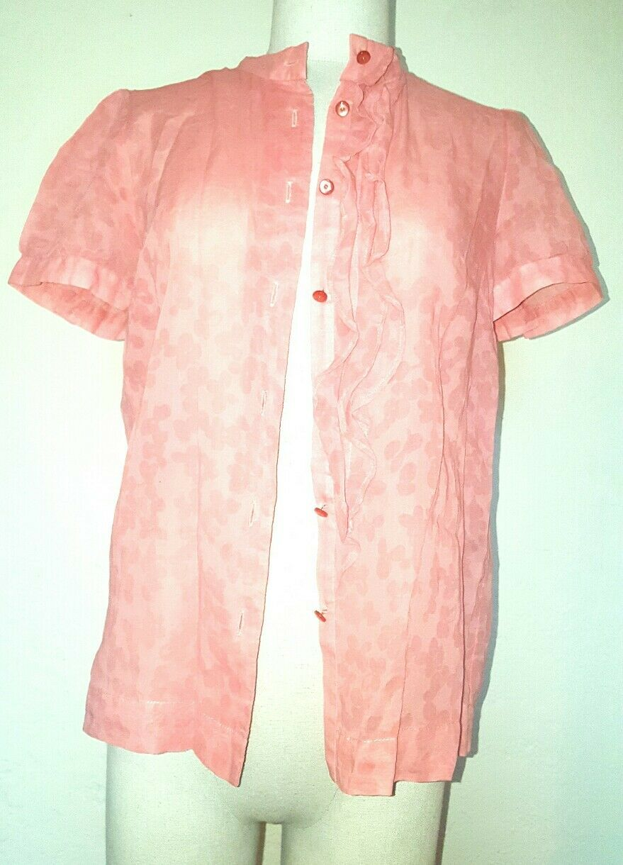 Marc by Marc Jacobs Raspberry Cream Ruffle front Sheer Blouse Top S4