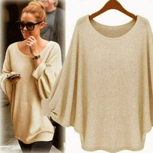 Fashion Women Oversized Batwing Knitted Pullover Loose Sweater Tee Tops US Stock